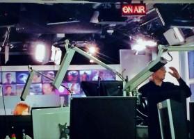 Crew preparing for a live broadcast of The Stream on the Al Jazeera America network.